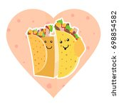 cute mexican food smiling taco... | Shutterstock .eps vector #698854582