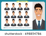 set of male facial emotions....   Shutterstock .eps vector #698854786
