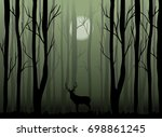 deer in the dark misty forest...   Shutterstock .eps vector #698861245