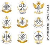 vintage weapon emblems set.... | Shutterstock . vector #698874166