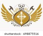 vintage decorative heraldic... | Shutterstock . vector #698875516