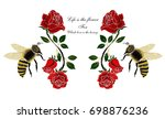 illustration with rose and bee... | Shutterstock .eps vector #698876236