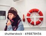 beautiful girl traveler with a...   Shutterstock . vector #698878456
