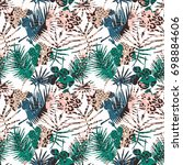 trendy seamless exotic pattern... | Shutterstock .eps vector #698884606