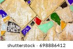 bright big vintage wall with... | Shutterstock . vector #698886412