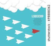 red paper airplane as a leader... | Shutterstock .eps vector #698888362