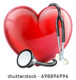 a heart icon and a medical... | Shutterstock . vector #698896996