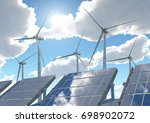 wind turbines and solar panels... | Shutterstock . vector #698902072