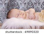 sleeping baby with vintage...   Shutterstock . vector #69890320
