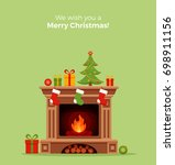 christmas fireplace room... | Shutterstock . vector #698911156