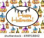 card template  oval frame on... | Shutterstock . vector #698918842