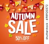 autumn sale vector banner... | Shutterstock .eps vector #698920372