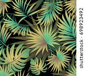 tropical palm leaves  jungle... | Shutterstock .eps vector #698923492