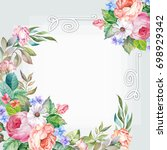 greeting card with watercolor... | Shutterstock . vector #698929342