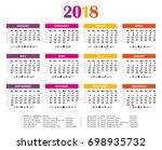 2018 summer colors calendar.... | Shutterstock . vector #698935732
