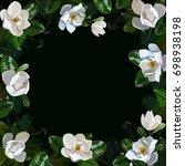 magnolia vector frame | Shutterstock .eps vector #698938198