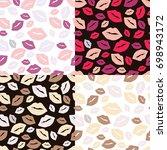 set of four seamless patterns... | Shutterstock .eps vector #698943172
