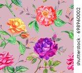 watercolor seamless pattern of... | Shutterstock . vector #698960002
