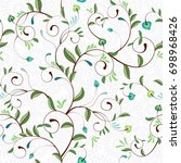 delicate pattern with curly... | Shutterstock . vector #698968426
