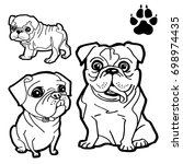 dog cartoon  and dog paw print  ...   Shutterstock .eps vector #698974435