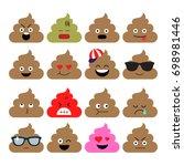 set of cute poop  happy poop ... | Shutterstock .eps vector #698981446