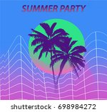 palm and sunset  retrowave.... | Shutterstock .eps vector #698984272