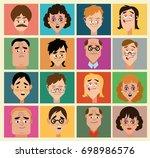 sixteen images of people.... | Shutterstock .eps vector #698986576