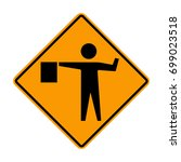 flagger sign  flagman ahead... | Shutterstock .eps vector #699023518