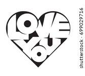 heart shape lettering love you... | Shutterstock .eps vector #699029716