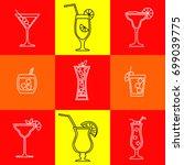 alcohol cocktails drinks vector ... | Shutterstock .eps vector #699039775