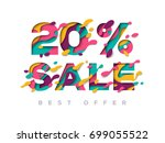 paper cut sale 20 percent off.... | Shutterstock .eps vector #699055522