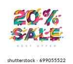 paper cut 20 percent off. 20 ... | Shutterstock .eps vector #699055522