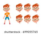 cute boy character with...   Shutterstock .eps vector #699055765
