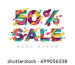 paper cut 50 percent off. 50 ... | Shutterstock .eps vector #699056338