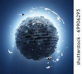 artificial planet - stock photo