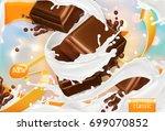 milk and chocolate. white cream ... | Shutterstock .eps vector #699070852