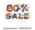 paper cut 80 percent off. 80...   Shutterstock .eps vector #699072016