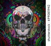 evil skull colorful art... | Shutterstock . vector #699085942