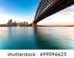 sydney skyline and harbor... | Shutterstock . vector #699096625