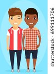 two boys of different ethnic... | Shutterstock .eps vector #699111706