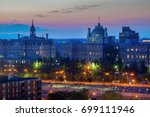 panorama of montreal at sunset. ... | Shutterstock . vector #699111946