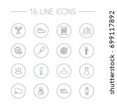 set of 16 stitch outline icons... | Shutterstock .eps vector #699117892