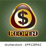 gold shiny emblem with money... | Shutterstock .eps vector #699128962