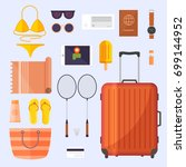 set of items for the trip.... | Shutterstock .eps vector #699144952