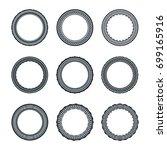 set of rounded frame ornament   Shutterstock .eps vector #699165916