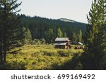 a log cabin in the hunting... | Shutterstock . vector #699169492