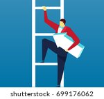 climb the ladder with the arrow | Shutterstock .eps vector #699176062