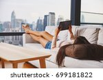 asian young model lying and... | Shutterstock . vector #699181822