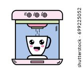 kawaii cute happy coffee maker... | Shutterstock .eps vector #699225052