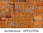 brick block wall texture...   Shutterstock . vector #699227056